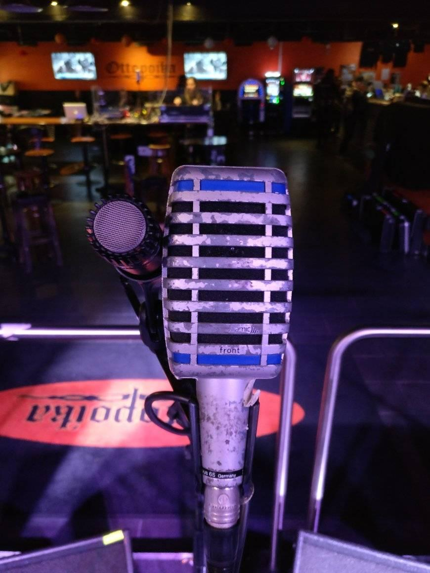 Two microphones staring at me. Very uncomfortable.